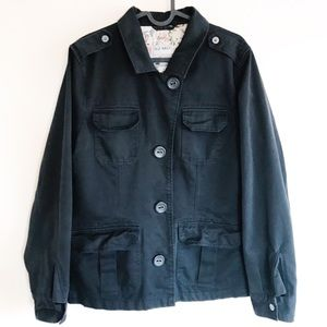 Old Navy Faded Black Trench Style Jacket Coat
